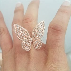 Jewelry - NIB Rose gold Sterling Silver Butterfly ring 7 8
